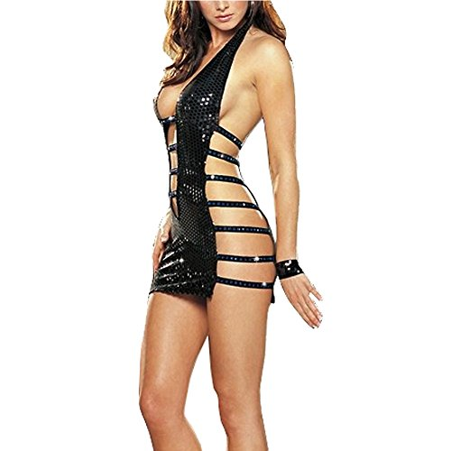 Only Trend Women's Bandage Faux Leather Lingerie