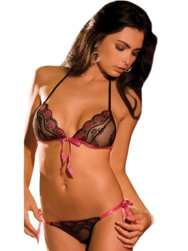 RENE ROFE Sexy Black Sheer Lace Tie Up Bra with Matching Thong 2 Piece Set, One Size