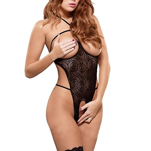 Finejo Womens Open Breast Crotchless Underwear Sets Mesh Sleepwear Dress Sexy Lingerie