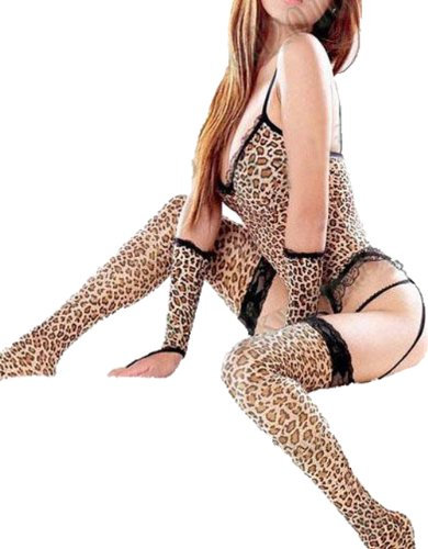 Sexy Lingerie Nightwear Leopard Garter G-string Gloves Stocking Bodystocking