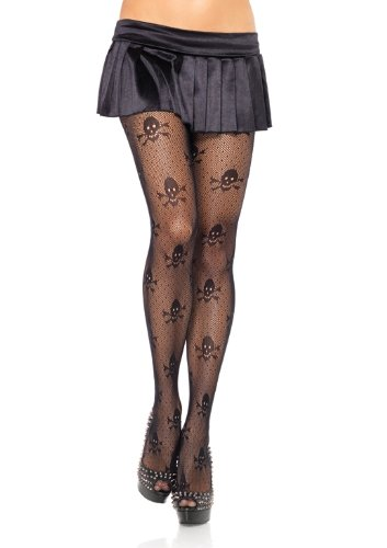 Leg Avenue Women's Micro Net Skull Print Pantyhose