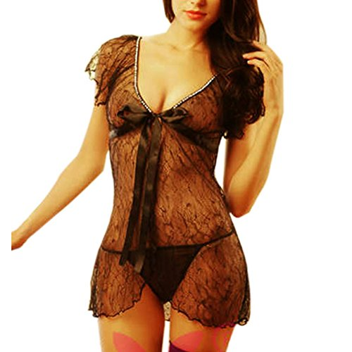 ANDI ROSE Sexy Lingerie Women Lace Mesh Padded Transparent Babydoll Underwear Black