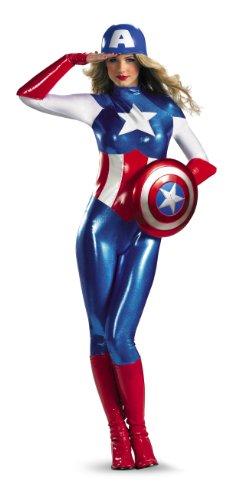 Disguise Marvel Captain America American Dream Bodysuit Womens Adult Costume