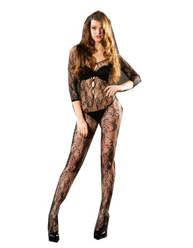 WIIPU black Sexy Women Sexy Body Open Crotch FishNet Lingerie Tights Pantyhose Stockings(LN163)