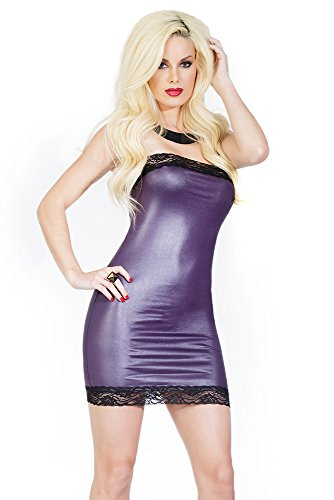 Coquette Women's Darque Wet Look Tube Dress with Lace Back