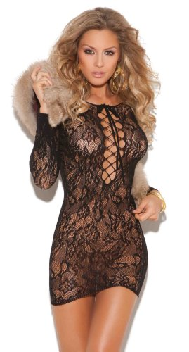 Elegant Moments Women's Long Sleeve Mini Dress With Lace Up Front