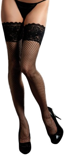 Seven Til Midnight Women's Fishnet Thigh High With Lace-Up Tie Stocking