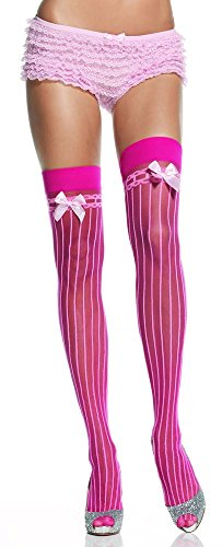 Lycra Sheer Pin Stripe Thigh High With Bow Top