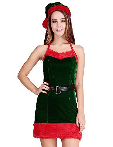 Papaya Wear Green Mrs Santa Claus Sexy Babydoll Christmas Party Costume Velvet Dress