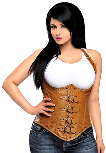 Daisy Corsets Women's Top Drawer Steel Boned Distressed Leather Underbust Corset