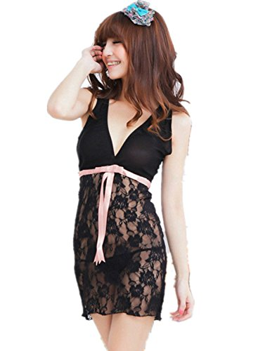 Black Women Sexy Lingerie Floral Chemise Babydoll Dress Sleepwear G-string