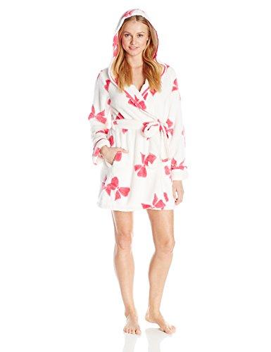 Betsey Johnson Women's Luxe Fleece Bow Print Hooded Robe