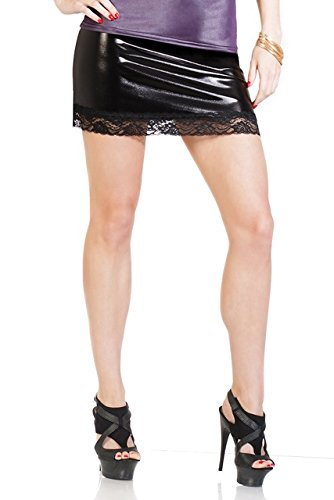 Coquette Women's Plus-Size Darque Wet Look Skirt with Lace Trim