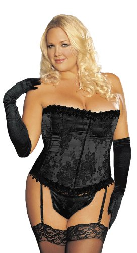 Shirley of Hollywood Womens Plus-Size Stunning Floral Tapestry Strapless Corset