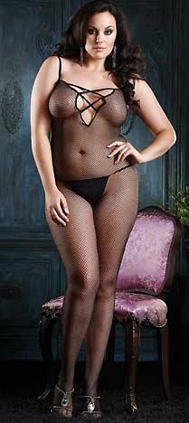 Leg Avenue Women's Plus Size V Back Finished Body Stocking With Lace Up