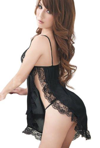 Women's Sleepwear Lace Lingerie Sexy Open Bust Deep-v G-string Thongs Babydoll