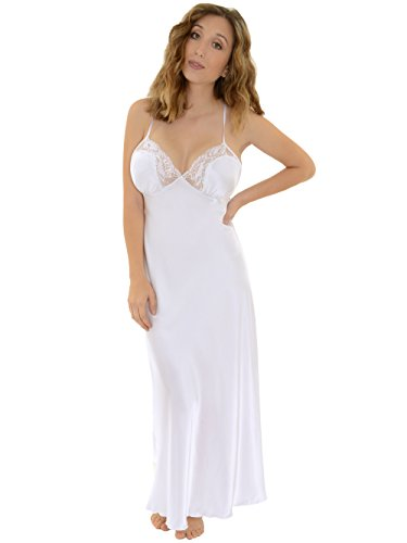 Satin Charmeuse White Long Nightgown with Sheer Lace Detailing Womens Lingerie