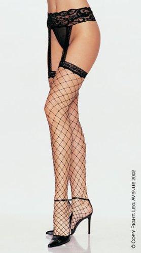 Leg Avenue Women's Lycra Fence Net Stockings with Attached Garter Belt #1769