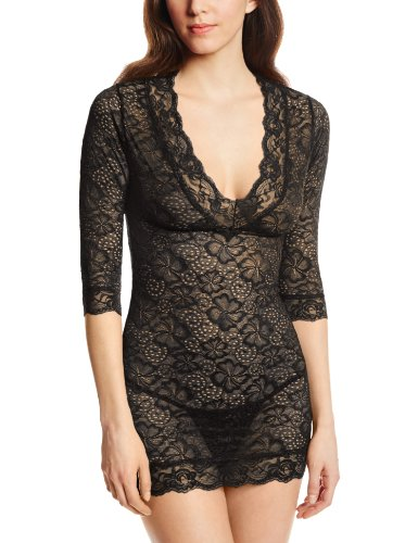 Dreamgirl Women's Sensual Desire Stretch Lace Tunic and Thong