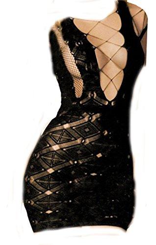 Women's Sexy Black Fishnet Lingerie Body Stocking Sleepwear Mini Dress