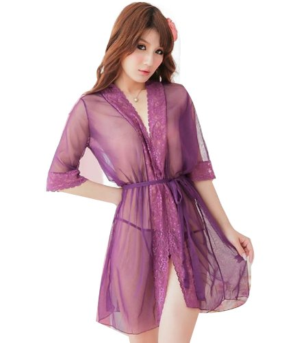 Sexy Erotic Transparent Purple Lace Open Crotch Tights Bikini Bodysuit Lingerie