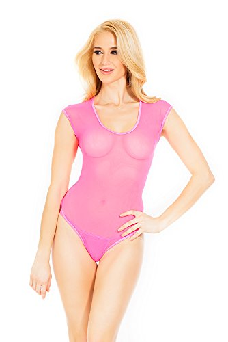 Coquette Women's Short Sleeve Mesh Teddy with Strap Thong Detail