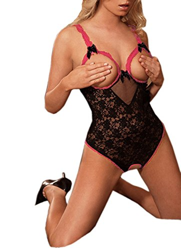 Doris Women's Open Bust Open Crotch Unitard Nightwear Teddy Hot Sexy Lingerie Free Size Black