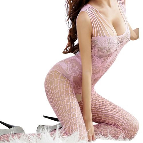 NSSTAR Sexy Women Open Crotch Net Lingerie Tights Pantyhose Body Stocking (Pink)