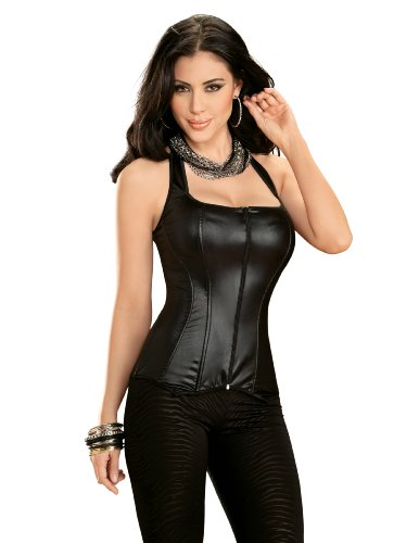 Escante Women's Built Up Leather Look Halter Corset