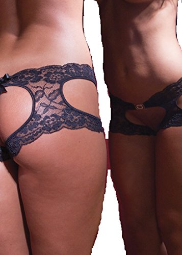 Sexy Heart Shaped Open Crotch Open Back Panties. Black. One Size. Made in USA.
