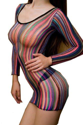 WIIPU Sexy Fishnet Club Mini halter Dress Body Stocking (LN203)