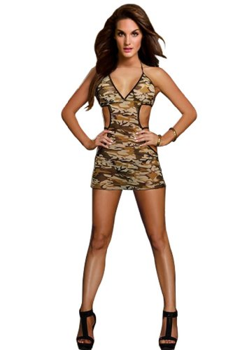 Amour- Sexy Lingerie Army Military Girl Costume Camo Mini Dress Babydoll Bedroom