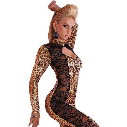 Amour- Wild Lepard Costume Catsuits /W Black Lace Goth Punk Stripper