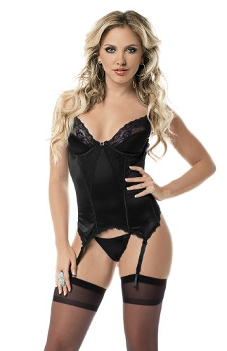 Escante Women's Satin and Lace Trim Bustier with Hose