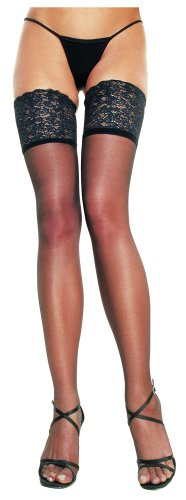Lycra Sheer Thigh High With 5 inch Silicone Lace Top