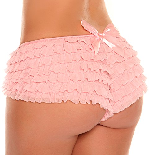 Daisy Corsets Women's Plus-Size Mesh Ruffle Shorts with Bow Plus