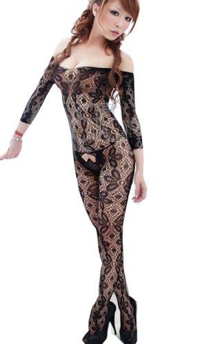 Hot Sexy Black Crotchless Fish Net Body Stocking Bodysuit Lingerie Nightwear