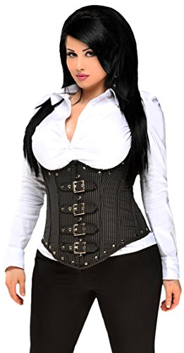 Daisy Corsets Women's Top Drawer Steel Boned Pinstripe Underbust Corset