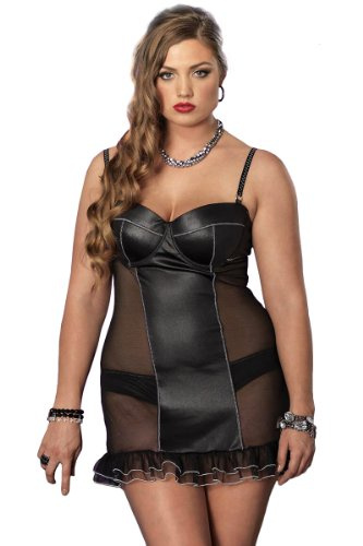 Leg Avenue Women's 2 Piece Spandex And Mesh Padded Underwire Chemise And Panty