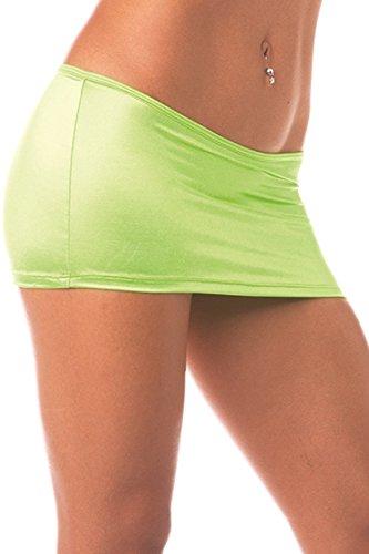 Sexy Scrunch Back Clubwear Mini Skirt. Neon Green. Made in the USA