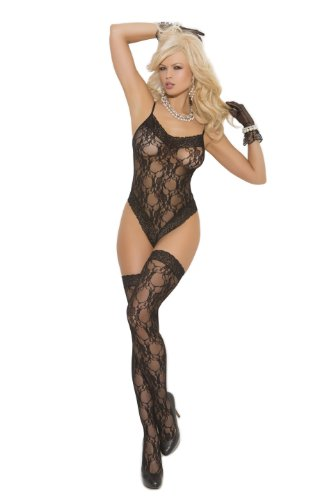 Elegant Moments Women's Lace Teddy and Matching Thigh High Set