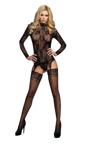 Leg Avenue 2pc.long Sleeved Floral Lace Garter Top and G-string-86524