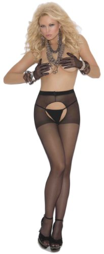 Elegant Moments Women's Sheer Crotchless Suspender Pantyhose