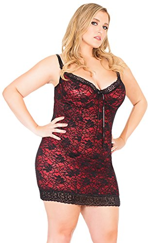Coquette Women's Plus-Size Reversible Stretch Lace Chemise