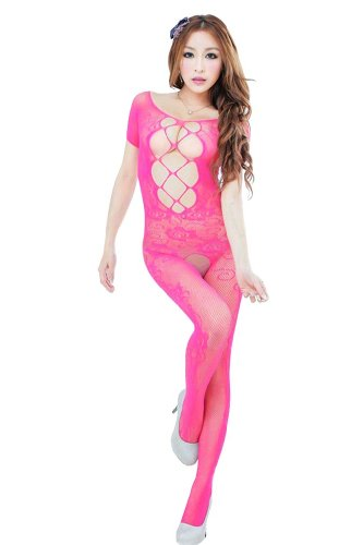 Amour – Women's Industrial Net Crotchless Bodystocking (03:Hot Pink)