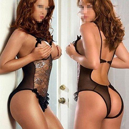 DDU(TM) 1Pc Black- Sexy Lace Open Bra Crotch See-through Underwear Lingerie Underclothes Sleepwear Nighty Lovers Gift