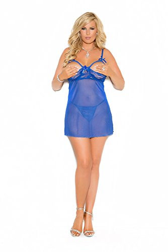 Elegant Moments Women's Plus-Size Babydoll with Satin Bow Detail and G-String