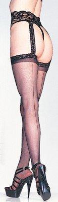 Leg Avenue Women's Sheer Back Seam Garter Belt Stocking