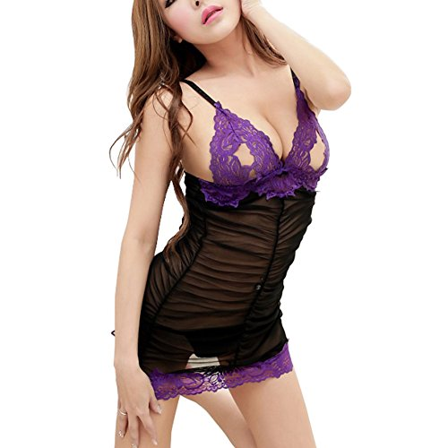 Women's Sexy Lingerie Set Open Cup Lace Mesh Sheer Babydoll Nightdress and G-string