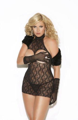 Elegant Moments Women's Plus-Size Cupless Lace Mini Dress